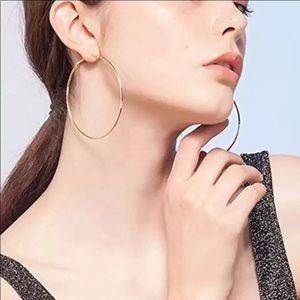 NEW Gold Color Big Hoop Earrings